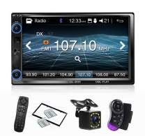 CarThree Car Radio Touchscreen 7 Inch Mirror Link Double Din Car Stereo with Backup Camera Subwoofe DRV Hands Free FM Radio Bluetooth Car stereos for SUV Car