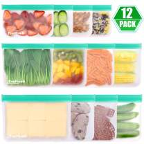Reusable Food Storage Bags, 12 Pack Freezer Bag - 4 Reusable Gallon bag, 4 Reusable Sandwich Bag, 4 Reusable Snack Bags, Extra Thick Ziplock Lunch Bag for Fruit Vegetable Travel Organization