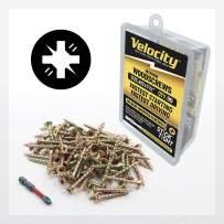 "Wood Screw - Velocity Interior Stick-Tight Wood Screw #10 x 1-1/2"" 90 Piece, Includes PSD ACR No-Wobble Driver Bit"