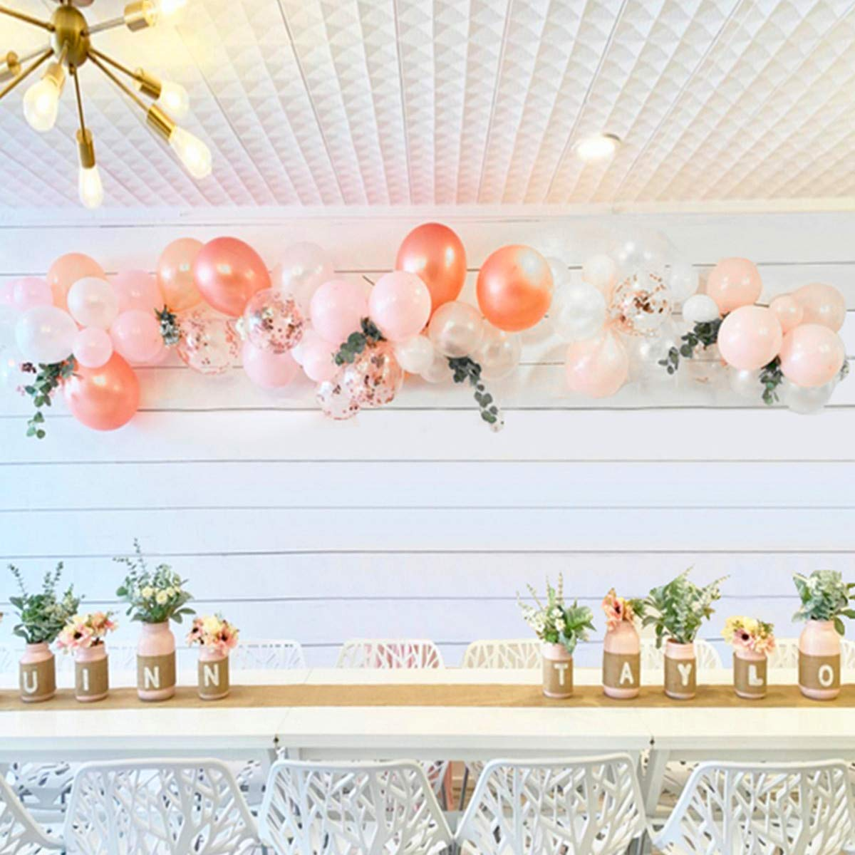 Balloon Arch & Garland Kit  100Pcs Rose Gold,Blush Pink &White Latex Party Balloons 16Ft Decorating Strip,Tying Tool,Glue Dots,Flower Clips  Wedding Birthday Baby Shower Bachelorette Party Decorations