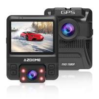 """AZDOME 1080P Dash Cam with 2.4"""" 6-Lane Dual Lens 170¡ã Wide-Angle Lens, Dashboard Camera Recorder with G-Sensor, Loop Recording, Night Vision, Parking Guard for Uber LYFT(with GPS)"""