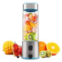 Portable Glass Smoothie Blender, TTLIFE Personal Blender USB Rechargeable, Small Blender Single Serve, Mixer Juicer Cup Travel Blender Cordless with 5200mAh Rechargeable Battery for Shakes and Smoothies-Blue