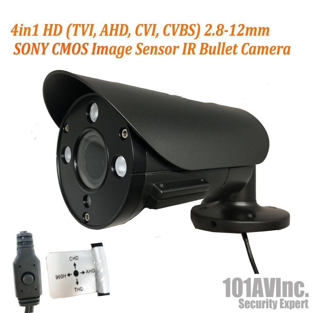101AV Security Bullet Camera 1080P True Full-HD 4 in 1(TVI, AHD, CVI, CVBS) 2.8-12mm Variable Focus Lens 2.1Megapixel CMOS Image Sensor IR in/Outdoor DWDR OSD Camera (Charcoal)