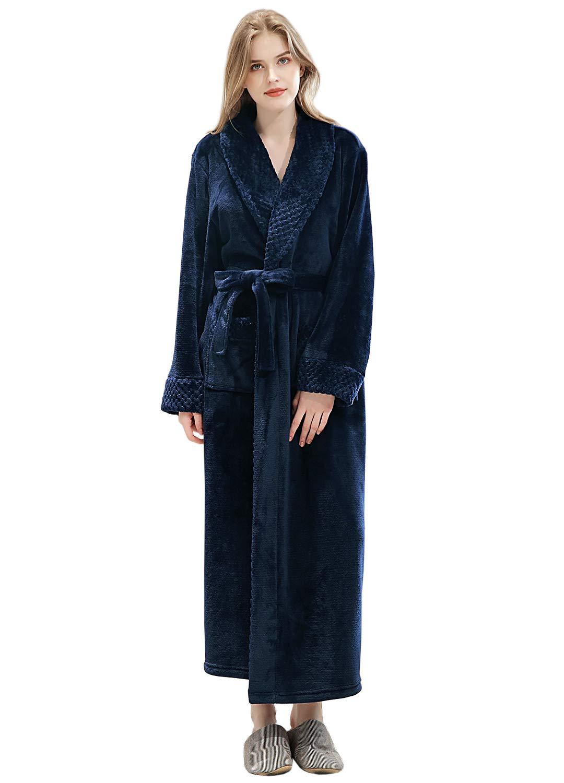 Womens Long Robe Soft Plush Plus Size Warm Comfy Bathrobe for Ladies Sleepwear