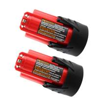 [Upgrade to 3.0Ah] 2 Pack 12V 3000mAh Lithium-ion Replacement Battery for Milwaukee M12 48-11-2411 48-11-2420 48-11-2401 48-11-2402 48-11-2401 2455-20 12-Volt M12 Cordless Tools