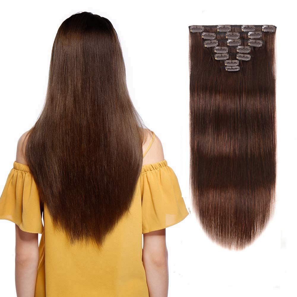 9A Yaki Straight Real Remy Thick Hair 100% Clip in Human Extensions #4 Color Full Head Brazilian Virgin Hair for Black Women 7 Pieces 70g 14 inch