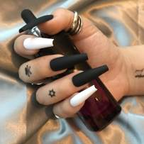 24Pcs Press on Nails Coffin Fake Nails Tips, ALPHONSE Long Ballerina False Nails with Glue, and 5 Sheet Waterproof Temporary Tattoo stickers for Women