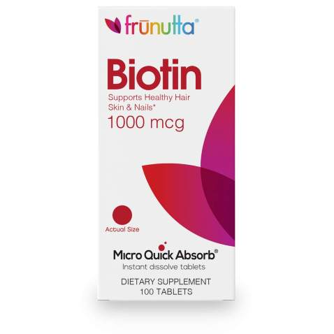 Frunutta Biotin 1000 mcg, Beautiful Hair, Healthy Nails, Under The Tongue Instant Dissolve Tablets, 3 Month Supply, Proudly Made in USA