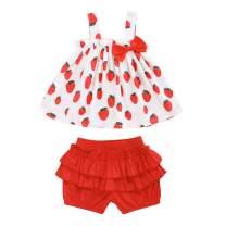 HAPPYMA Toddler Baby Girl Shorts Set Fruit Print Strap Sleeveless T-Shirt Ruffle Shorts Summer Outfits 6M-4T