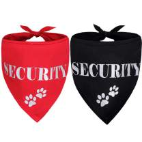 KOOLTAIL Security Dog Bandana Scarf - 2 Pcs Red&Black Accessories for Small Medium Large Dogs Cats Pets