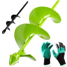 """BLIKA 2 Pcs Auger Drill Bit Set, Garden Plant Flower Bulb Auger 4"""" x 16"""" and 1.6"""" x 9"""" Rapid Planter with Garden Genie Gloves, Earth Auger Bit, Non-Slip Hex Drive fits Any 3/8-inch Drill"""
