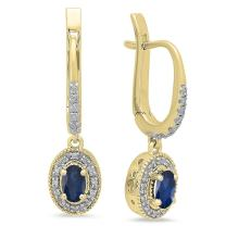 Dazzlingrock Collection 10K 5X3 MM Each Oval Gemstone & Round Diamond Ladies Halo Dangling Drop Earrings, Yellow Gold