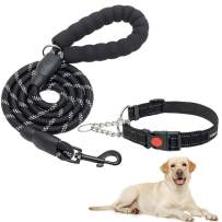 Dog Martingale Collar with Leash - Reflective Martingale Collars for Small Medium Large Dogs with Quick Release Buckle, Strong Rope 5ft Dog Leash with Padded Handle for Training