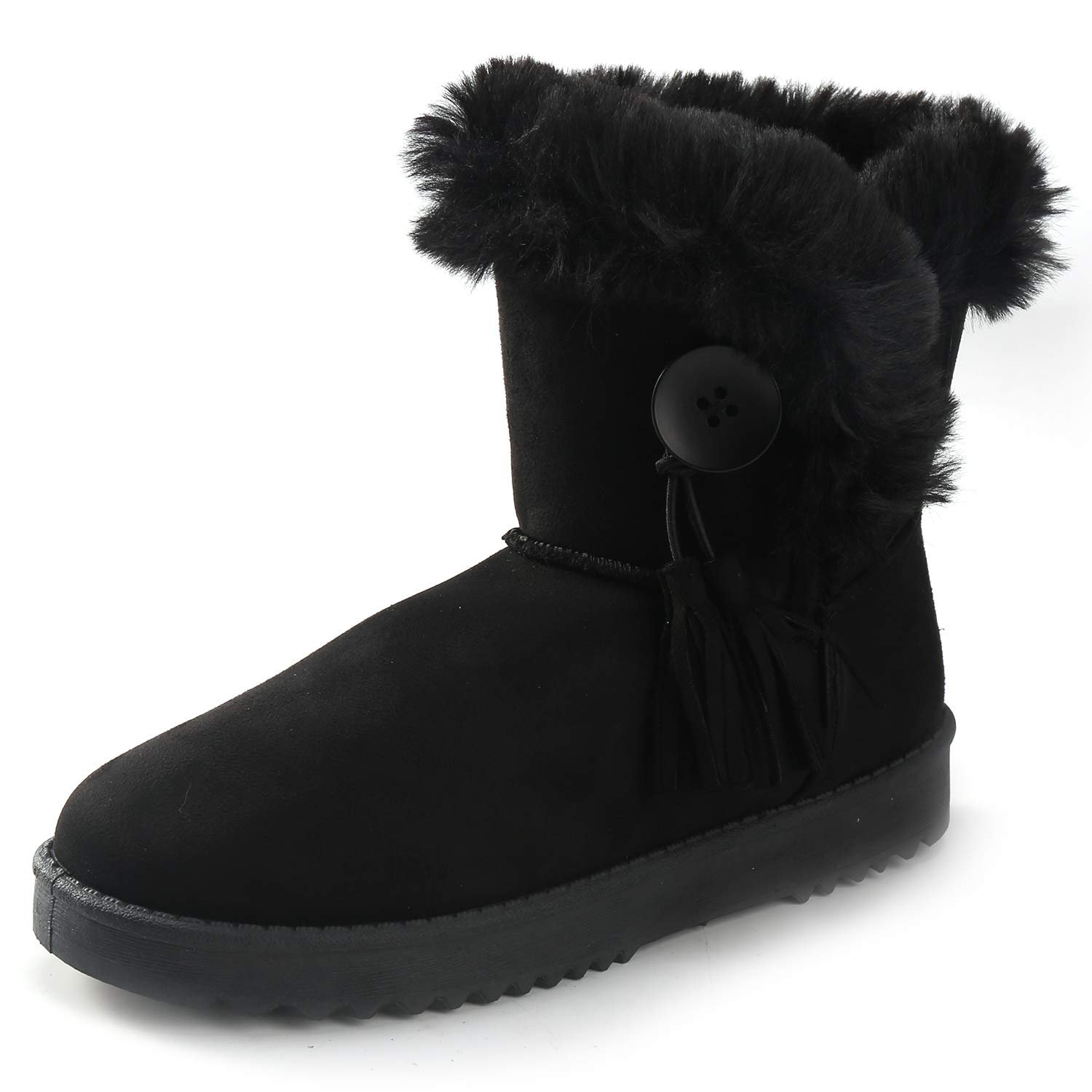 Alexis Leroy Women's Button Style Mid-Calf Warm Fur Lined Winter Flat Snow Boots