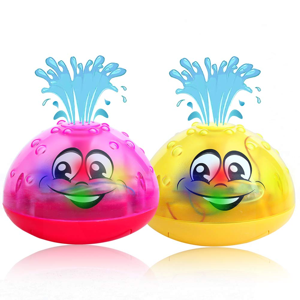 AOLIGE Baby Light Up Bath Toys for Toddlers 1 2 3 Years Kids Pack of 2 (Rose Red and Yellow)