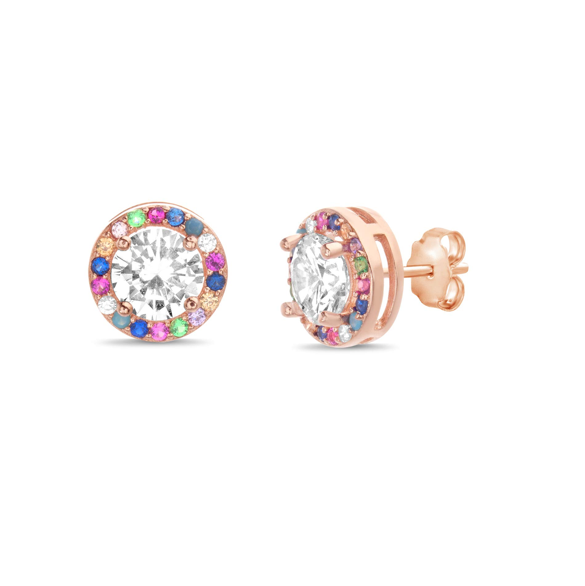Devin Rose Sterling Silver Cubic Zirconia Rainbow Halo Stud Earrings for Women (Various Styles)