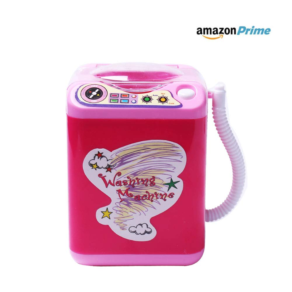 WesGen Makeup Brush Cleaner Device,Miniature Automatic Cleaning Washing Machine Mini Toy (Pink)