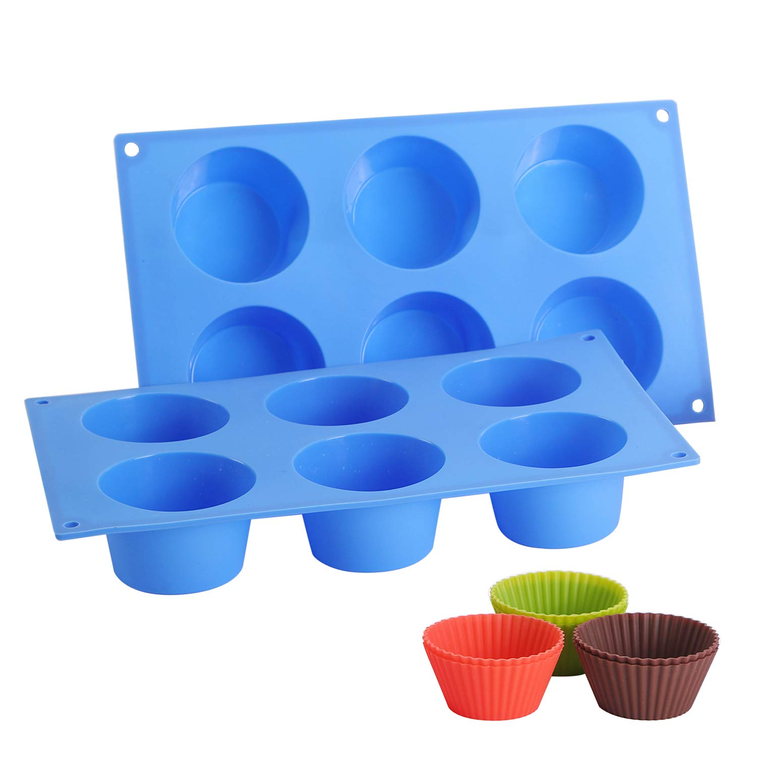 DONIBUDO BPA Free Silicone Jumbo Muffin Cupcake Pans,Non-Stick 6 Large/Big Baking cups, Food Grade Molds, Dishwasher & Microwave Safe - Pop Out Easily, Come with 6 Silicone Baking Cups, Blue, 2 Packs…