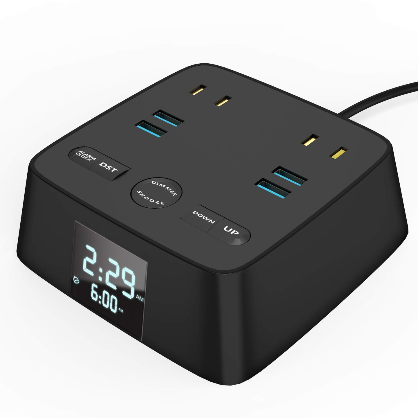 POWERAXIS Alarm Clock Charger Station, 4 Dimmer Setting, 4 USB Ports and 2 AC Outlets, with Dual Alarm and Snooze, Include Battery Backup, 6FT Prower Cord Suitable for Home Bedroom Office Hotel.