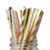 IPALMAY Metallic Gold and Pink Biodegradable Drinking Paper Straws, Striped Star Dot and Chevron, 7.75 Inches, Pack of 150