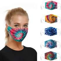 MASZONE 5pcs Face Masks, Fashion Protective, Dustproof, Washable, Reusable Cotton Fabric, Unisex, Adjustable Earloop