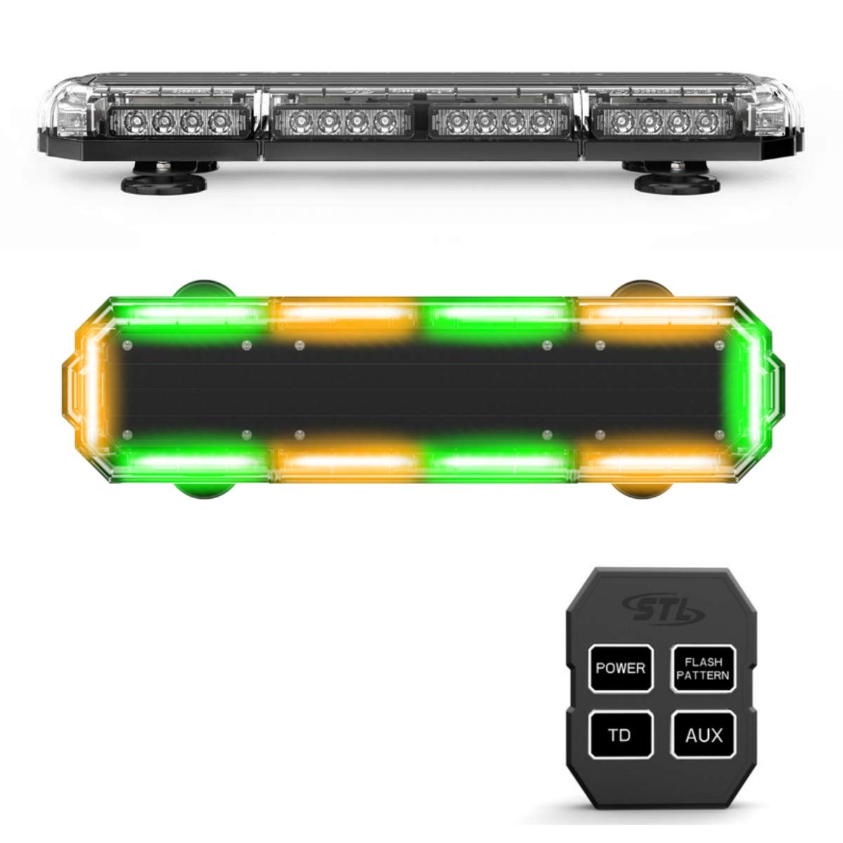 FOXCID 12 36 LED 18 Watts Emergency Hazard Warning Security Roof Top Flash Strobe Mini Light Bar with Magnetic Mount for Plow or Tow Truck Construction Vehicle Green