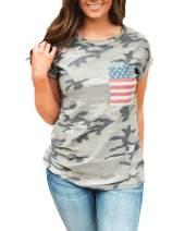 Womens Camo American Flag Shirts Short Sleeve Round Neck Patriotic Tops Tunic Tees