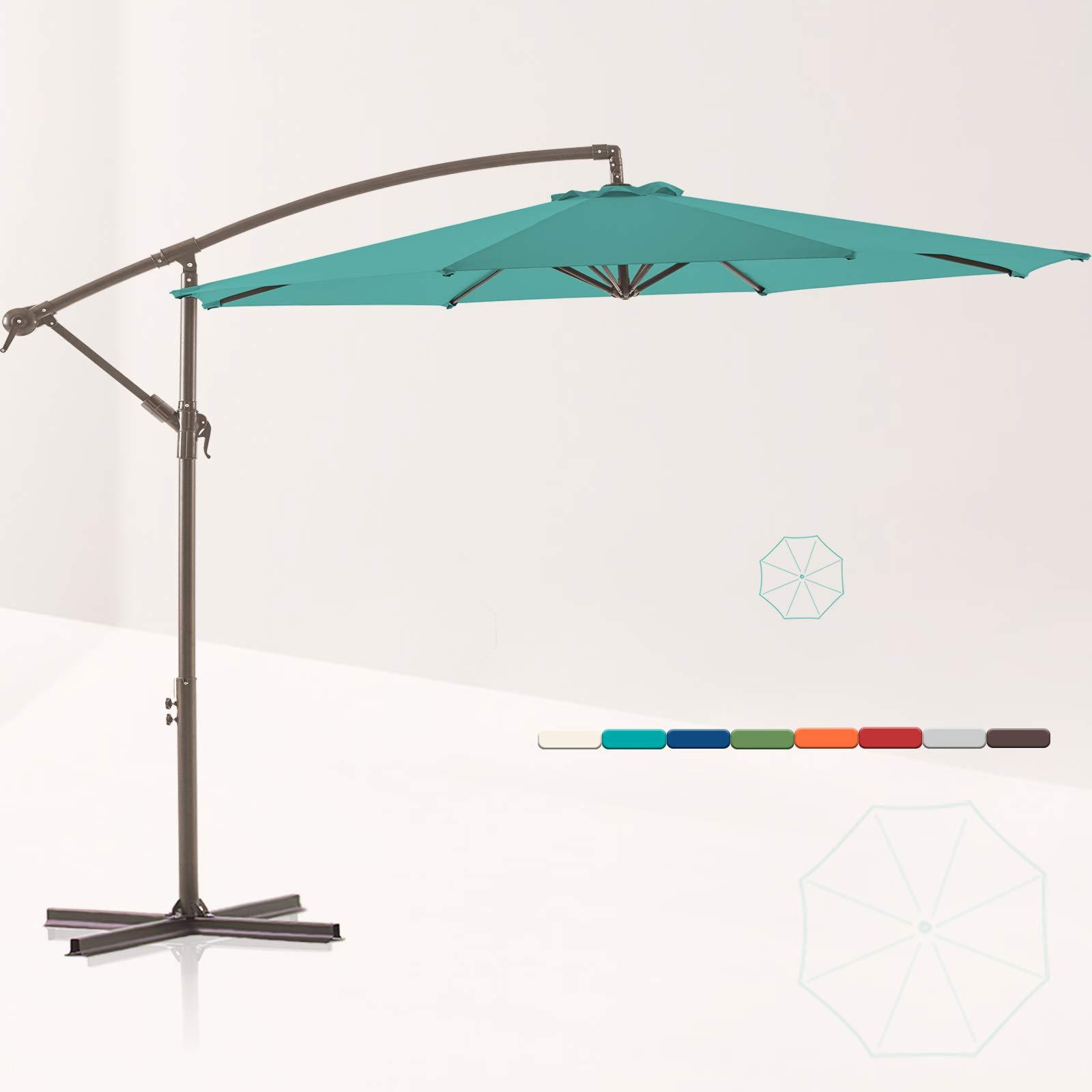 LE CONTE 10 ft. Offset Hanging Patio Umbrella Cantilever Outdoor Umbrellas with Fade Resistant Solution-Dyed Canopy, Infinite Tilt, Crank & Cross Base (Aruba Blue)