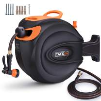 TACKLIFE Hose Reel, Auto Retractable, 65 ft +7ft Lead in Hose, 180°Pivot, 8 Patterns Spray Nozzle, Suitable for Garden Watering, Car/Machine Washing