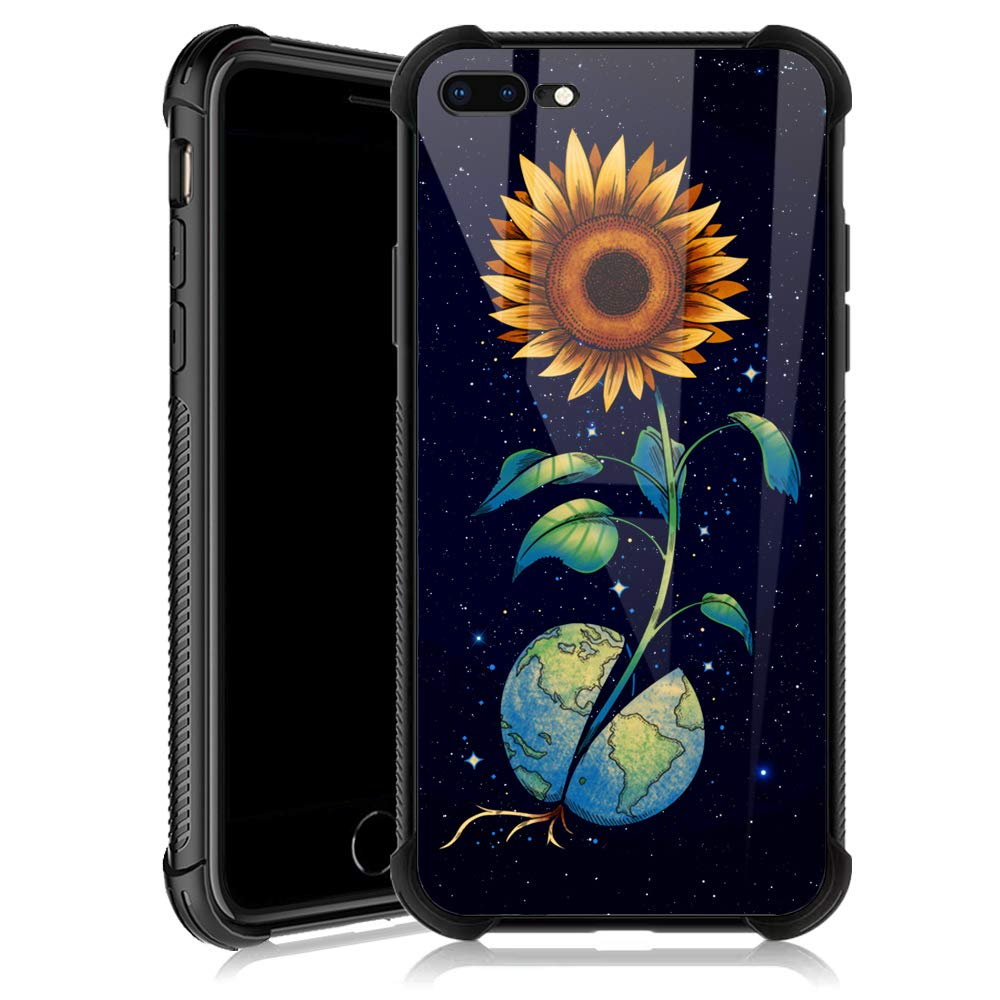 iPhone 8 Plus Case,Earth Sunflower Starry iPhone 7 Plus Cases for Girls,Tempered Glass Back Cover Anti Scratch Reinforced Corners Soft TPU Bumper Shockproof Case for iPhone 7/8 Plus Space Yellow