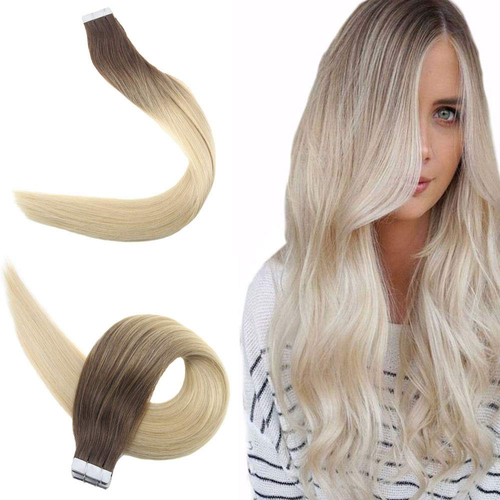 "Easyouth 12"" Balayage Tape in Real Human Hair Color Darker Brown Fading to Ash Brown and Bleach Blonde Glue on Extensions Skin Weft Hair Extension Double Sided Tape in (20pcs, 30gram/Pack)"
