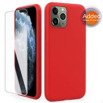 AhaStyleiPhone 11 Pro Max Case Liquid Silicone, Soft Slim Rubber Protective Case Cover [Added Tempered Glass] Compatible with iPhone 11 Pro Max 6.5 inch(2019)(Red)