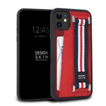 Design Skin iPhone 11 Case, Genuine Leather Phone Case and Card Holder with Elastic Hand Strap for Extra Grip - Red