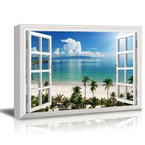 Window View Tropical Landscape with Beach and Palm Trees Gallery 24x36 inches