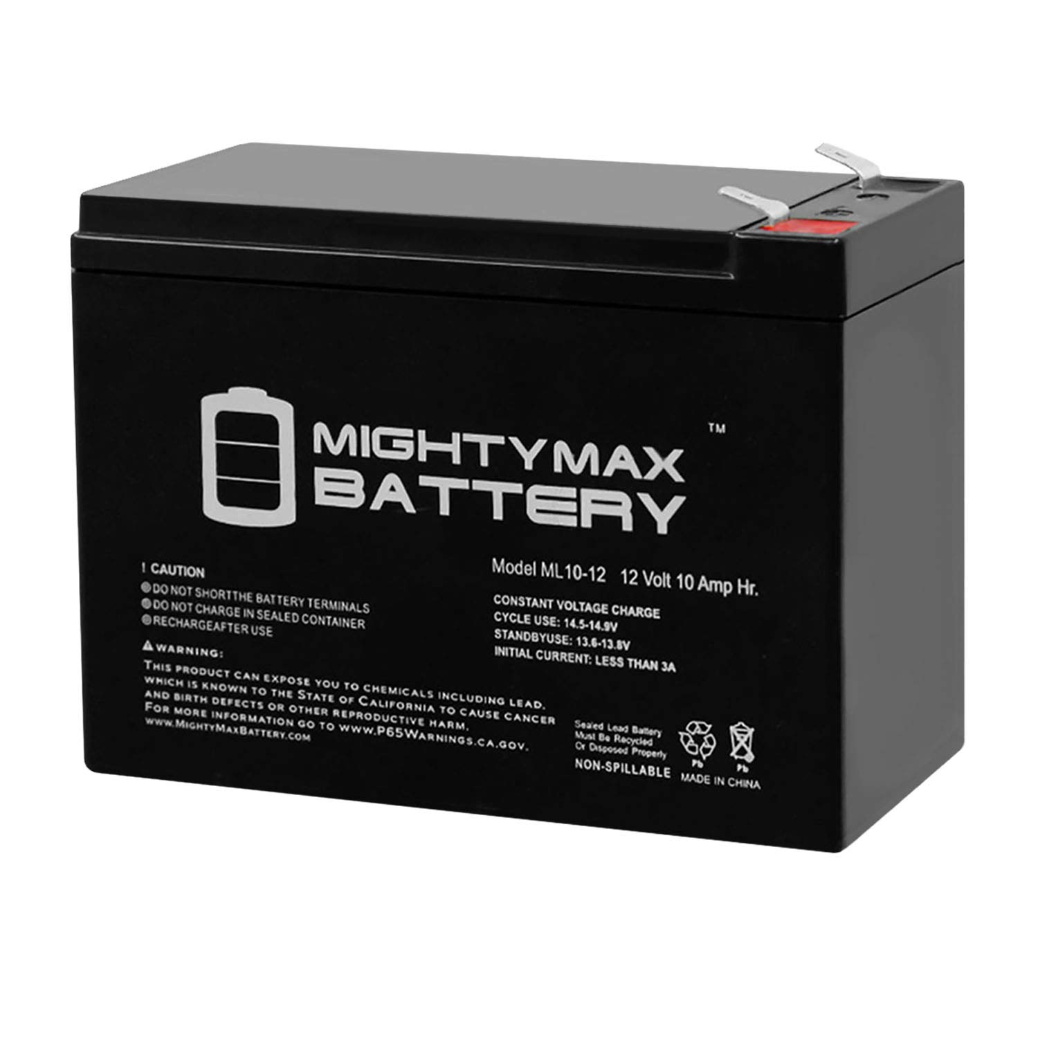 ML10-12 - 12 Volt 10 Ah SLA Battery - Mighty Max Battery Brand Product