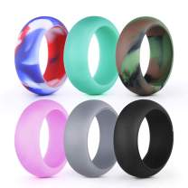 sikiwind Silicone Ring Wedding Band Affordable Silicone Rubber Band for Men and Women 6 Pack Comfortable and Durable Sport Ring Replacement