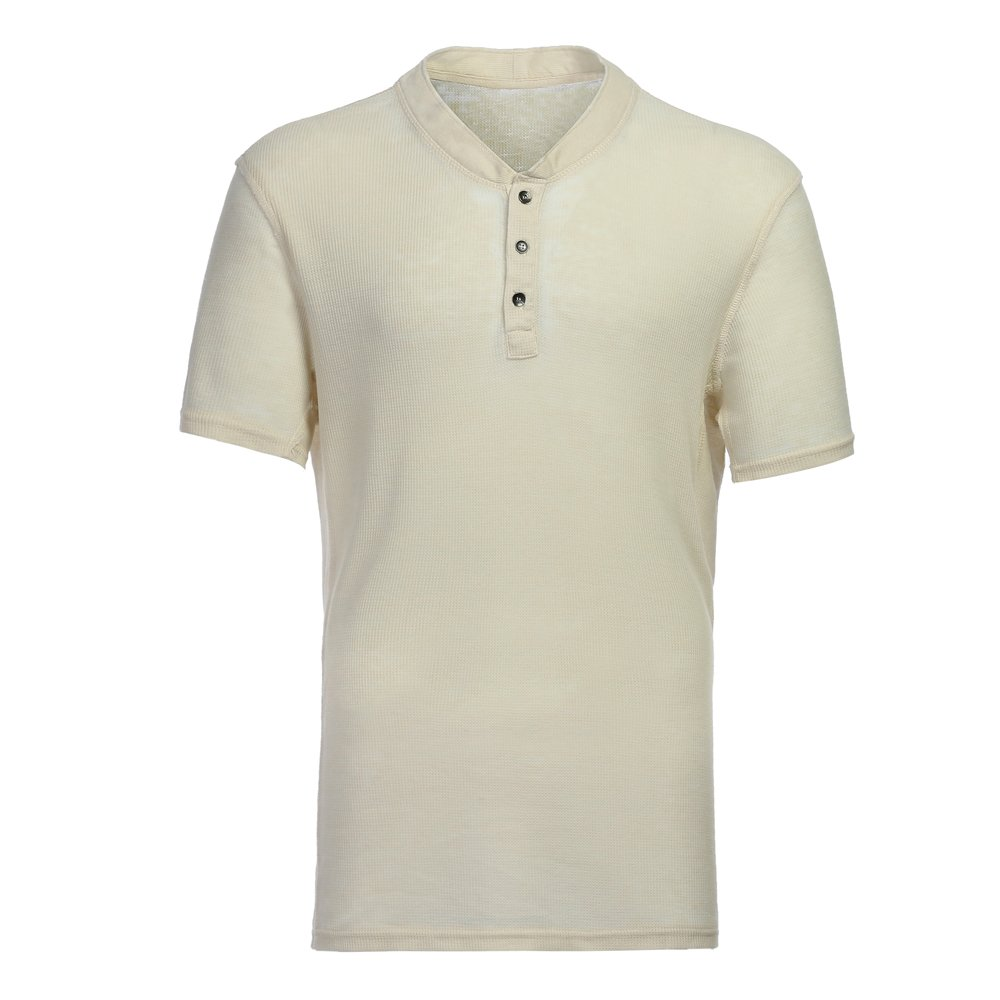 Men's Casual Short Sleeve Lightweight Burnout Thermal and Heather Henley Tee White