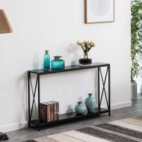 SSLine Black Narrow Console Table with Storage Shelf 2-Tier Slim Entryway Accent Table X Design Sofa Side Table with Metal Frame MDF Wood Hallway Entry Table for Living Room Porch Doorway