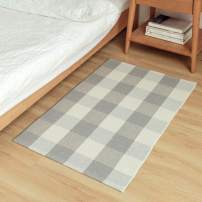 Wolala Home 2'x3' Gray White Buffalo Check/Checkered/Plaid Hand Woven Rugs with Non-Slip Pads for Kitchen/Bathroom/Entry Way/Indoor/Outdoor Porch Area Rug Machine Washable Doormat