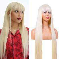 Sylhair Long Straight Wigs with Bangs 30 inch 613 Blonde Wigs for Women Synthetic Wigs for Daily Use Heat Resistant Fiber (#613 Weight: 320g )