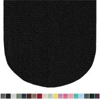 Gorilla Grip Original Luxury Chenille Oval Bath Rug Mat, 42x24, Extra Soft and Absorbent Large Shaggy Bathroom Rugs, Machine Wash Dry, Plush Carpet Mats for Tub, Shower, and Bath Room, Black