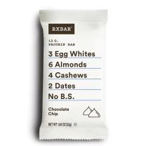 RXBAR, Chocolate Chip, Protein Bar, 1.83 Ounce (Pack of 12), High Protein Snack, Gluten Free