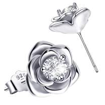 Rose Flower Stud Earrings - Sterling Silver Hypoallergenic Cubic Zirconia Rose Studs Earrings CZ Flower Stud Earrings for Women Girls