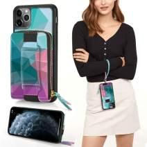 iPhone 11 Pro Max Zipper Case, ZVEdeng iPhone 11 Pro Max Wallet Case, iPhone 11 Pro Max Card Holder Case Printed Zipper Case with Kickstand Wrist Strap Phone Case Handbag-Mixcolor