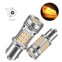 1156 LED Bulb Amber Turn Signal Light Anti Hyper Flash CANBUS Error Free 360lm 42-LED Built-in Load Resistor 1156 BA15S P21W 1141 1073 7506 1003 12V 150°Led Bulb(1156 Amber)