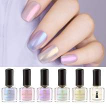 BORN PRETTY Nail Polish Polish Pearl Transparent Shell Glimmer Shiny Shimmers Manicuring Art Varnish 5 Colors with 2 in 1 Top Base Coat