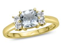 Finejewelers Solid 10k Yellow Gold 6x6mm Cushion-Cut Center and Side White Topaz Ring