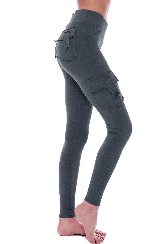 HSRKB Womens Cargo Pants Yoga Pants High Waist Slim Fit Pant with Muti Pockets