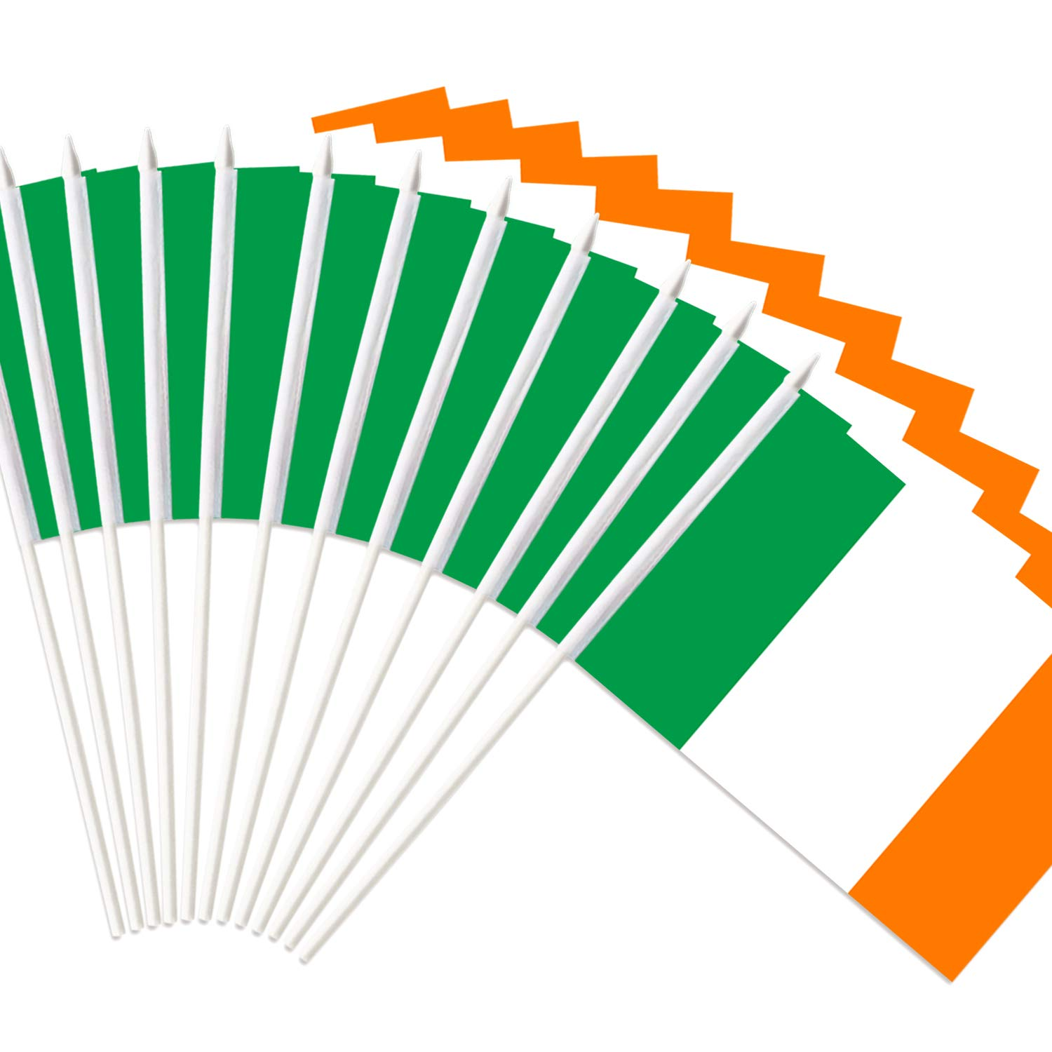 """Anley Ireland Stick Flag, Irish National 5x8 inch Handheld Mini Flag with 12"""" White Solid Pole - Vivid Color and Fade Resistant - Hibernian 5 x 8 inch Hand Held Stick Flags with Spear Top (1 Dozen)"""