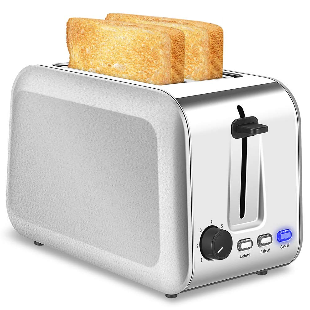 2 Slice Toaster Extra Wide Slots Brushed Stainless Steel Toaster with 7 Shade Settings Reheat/Defrost/Cancel Function and Removable Crumb Tray Evenly And Quickly Two Slice Bread Bagel Toasters